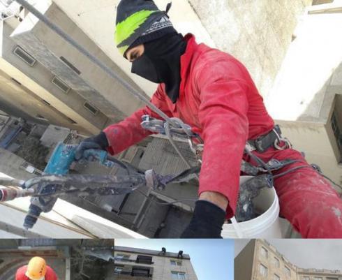پیچ رولپلاک سنگ نما ساختمان شستشوی نماشوی طناب کار