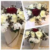 تزیین گل در جعبه - تزیین گل در بادکنک - تزیین دسته گل