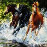 تابلو فرش دستباف فرار اسب های وحشی